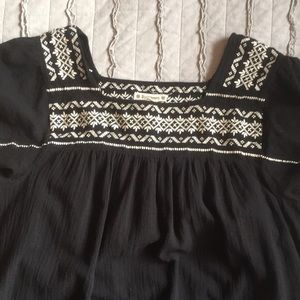Boho tunic/ dress black with white stitching